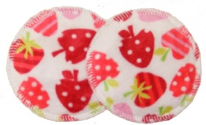 3 layer Breast Pads - 1 Pr - Strawberries Plush Fabric
