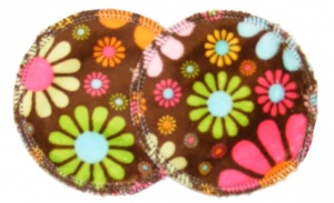 3 layer Breast Pads - 1 Pr - Flower Child Island Chocolate Plush Fabric
