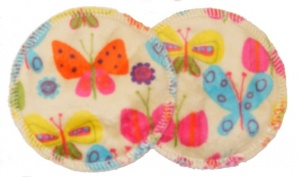 3 layer Breast Pads - 1 Pr - Bright Butterflies on Cream Plush Fabric