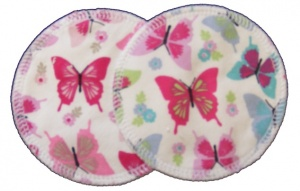 3 layer Breast Pads - 1 Pr  -  Summer Butterflies Turquoise and Pinks Woven Cotton