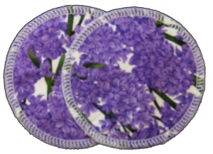 3 layer Breast Pads - 1 Pr  -  Lilac Woven Cotton