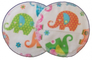 3 layer Breast Pads - 1 Pr  -  Pink Elephants Woven Cotton