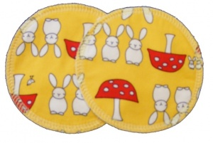 3 layer Breast Pads - 1 Pr  -  Bunnies and Toadstools Yellow Woven Cotton