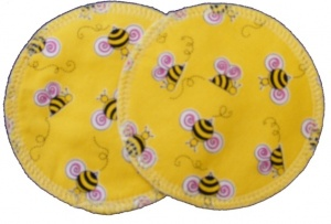 3 layer Breast Pads - 1 Pr  -  Bees on Yellow Woven Cotton