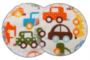 3 layer Breast Pads - 1 Pr  -  Multi Cars on White Woven Cotton