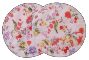 3 layer Breast Pads - 1 Pr  - Summer Flowers Oranges on White Woven Cotton