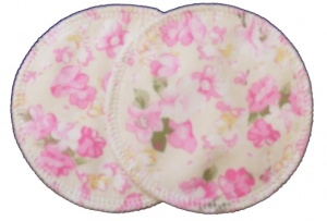 3 layer Breast Pads - 1 Pr  - Summer Flowers Pink on Cream Woven Cotton