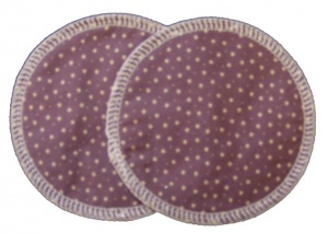 3 layer Breast Pads - 1 Pr  - Stars on Mauve Woven Cotton