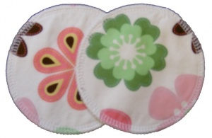 3 layer Breast Pads - 1 Pr  -  Swirling Daisies Woven Cotton