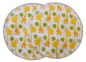 3 layer Breast Pads - 1 Pr  - Wee Giraffes Woven Cotton