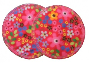 3 layer Breast Pads - 1 Pr  - 60s Flowers Hot Pink Woven Cotton