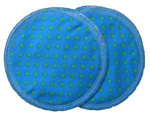 3 layer Breast Pads - 1 Pr  -  Turquoise with Green Spots Woven Cotton