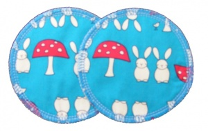 3 layer Breast Pads - 1 Pr  -  Bunnies and Toadstools Turquoise Woven Cotton