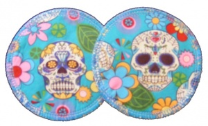 3 layer Breast Pads - 1 Pr  - Skulls on Turquoise Woven Cotton