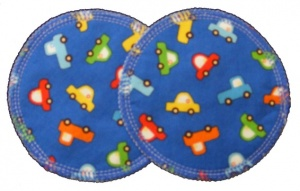 3 layer Breast Pads - 1 Pr  -  Cars on Royal Blue Woven Cotton
