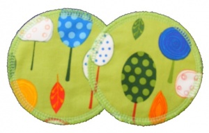 3 layer Breast Pads - 1 Pr  -  Lime Orchard Woven Cotton