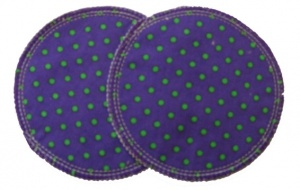 3 layer Breast Pads - 1 Pr  -  Purple with Green Spots Woven Cotton
