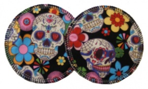 3 layer Breast Pads - 1 Pr  - Skulls on Black Woven Cotton
