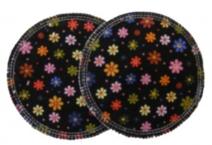 3 layer Breast Pads - 1 Pr  - Multi Coloured Flowers on Black Woven Cotton
