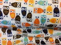 FABric by the metre - Plush Blue Orange Brown Owls