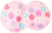 3 layer Breast Pads - 1 Pr - Daisies on Pink Plush Fabric