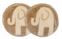 3 layer Breast Pads - 1 Pr - Light Biscuit elephant Plush Fabric