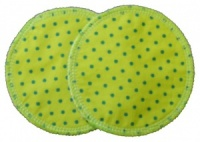 3 layer Breast Pads - 1 Pr  - Lime with Turquoise Spots Woven Cotton