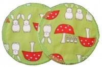 3 layer Breast Pads - 1 Pr  -  Bunnies and Toadstools Lime Woven Cotton