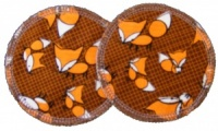 3 layer Breast Pads - 1 Pr  -  Foxes on Brown Woven Cotton