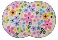 3 layer Breast Pads - 1 Pr  - 60s Flowers White Woven Cotton