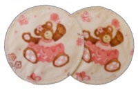 3 layer Breast Pads - 1 Pr  - Pink Teddies Woven Cotton