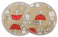 3 layer Breast Pads - 1 Pr  -  Bunnies and Toadstools Camel Woven Cotton