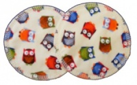 3 layer Breast Pads - 1 Pr  - Colourful Owls Woven Cotton