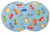 3 layer Breast Pads - 1 Pr  -  Cars on Pale Blue Woven Cotton