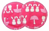 3 layer Breast Pads - 1 Pr  -  Bunnies and Toadstools Hot Pink Woven Cotton