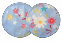 3 layer Breast Pads - 1 Pr  - Dragonflies and Flowers on Blue Cotton