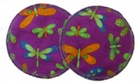 3 layer Breast Pads - 1 Pr  - Dragonflies on Purple Woven Cotton