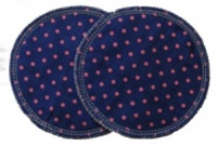3 layer Breast Pads - 1 Pr  -  Navy with Pink Spots Woven Cotton