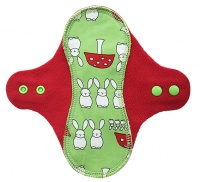 PeaPod - Lime Bunnies on Red Microfleece