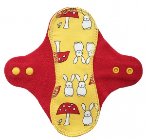 PeaPod - Yellow Bunnies on Red Microfleece