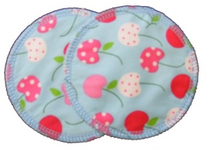 3 layer Breast Pads - 1 Pr  -  Cherries Woven Cotton