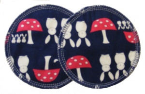 3 layer Breast Pads - 1 Pr  -  Bunnies and Toadstools Navy Woven Cotton